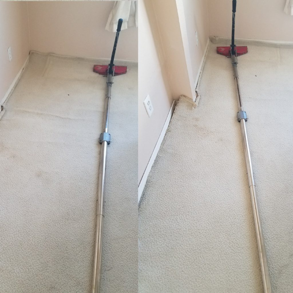 Carpet stretching with power stretcher